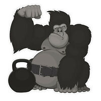 2 x Exercise Gorilla & Kettle Bell Sticker Car Bike iPad Laptop Decal Gift #4138