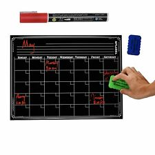 16 x 12 Dry Erase Monthly Magnetic Fridge Calendar Flexible Black Board Planner