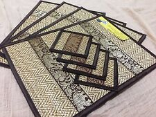 4 PLACEMATS  SILK REED MAT COASTERS THAILAND ELEPHANT THAI HANDICRAFT PAD DRINKS