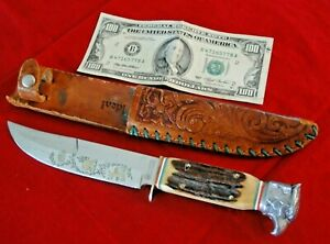 Vtg IDEAL German Stag Handle Bowie Fixed Blade Hunting Knife Eagle Sheath $.99