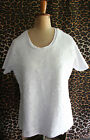 WITCHERY ~ Summer White Scalloped Design Sequinned Short Sleeve Top Blouse ~ XL