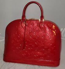Authentic  Louis Vuitton bright red  Vernis Alma GM bag