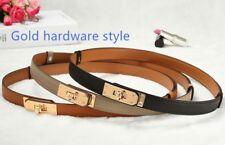 Cinturón de Cuero Real H [Kelly] estilo, hardware de plata/oro, 7 Colores, Ajustable