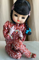 Vintage Chinese Cloth Doll Girl Baby Kimono Outfit