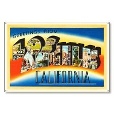 Los Angeles California Travel Postcard Metal Sign Wall Decor STEEL not tin 36x24
