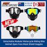 Detachable Modular Motorcycle Riding Bike Helmet Open Face Mask Shield Goggles