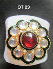 Indian Fashion Jewelry Wedding Bridal Pearl CZ Rings Adjustable Finger Ring OT 9