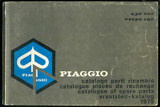 Catalogue des Pièces PIAGGIO APE CAR. VESPA CAR 1975 Catalogo Parts List Katalog