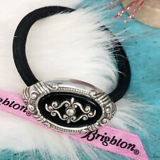 Brighton Oval Silver Pl Black Ponytail Holder Bracelet Hair Jewelry Accessory