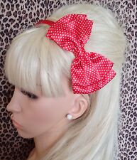 """NEW RED WHITE POLKA DOT SATIN FABRIC 5"""" DOUBLE SIDE BOW ALICE HAIR HEAD BAND"""
