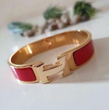 Hermes Clic Clac Enamel Gold Bracelet -Red