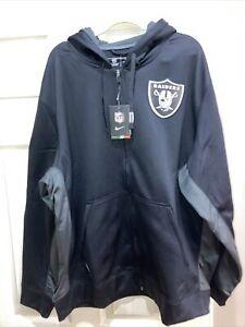 NWT Black Nike ThermaFit NFL On Field Apparel Raiders Fleece Jacket Size XXL