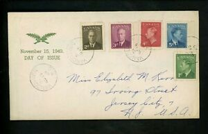 Postal History Canada FDC #284-288 Unknown King George VI 1949 Vancouver BC