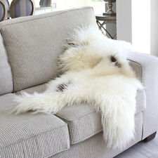 ICELANDIC WHITE SPOT SHEEPSKIN HIDE LONG HAIR SHAGGY WOOL SHEEP SKIN THROW RUG