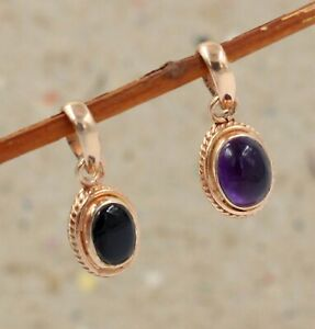 925 Sterling Silver Black Onyx Gemstone Rose Gold Plated Combo Gift Pendant Set