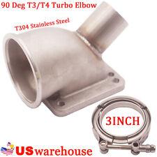 """3"""" V band 90 Deg T3/T4 Car Turbo Elbow Adapter Flange Cast WG Tube OD:1.75"""" 304S"""