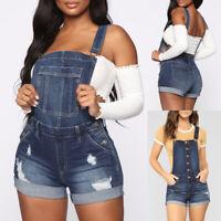 Women Lady Denim Jeans BIB Overalls Straps Pants Short Romper Slim Fit Jumpsuit