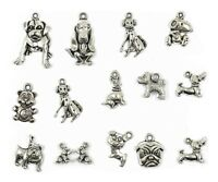 15pcs Mixed Dog Antique Silver Charms Pendants Jewelry Findings