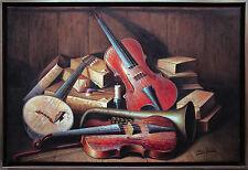 "Henri Gautier: Hyper-Realismus-Ölmalerei Leinwand 60 x 90 cm ""Musikinstrumente"""