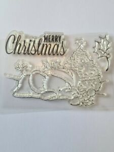 Merry Christmas Cling Stamp Set  Unused