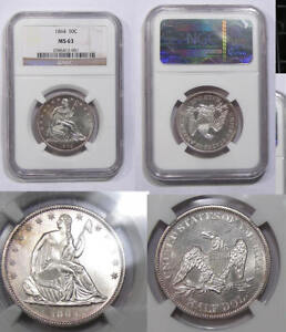 1864-P SEATED SILVER HALF NGC MS63 AMAZING, LOOKS BETTER INV#344B-12