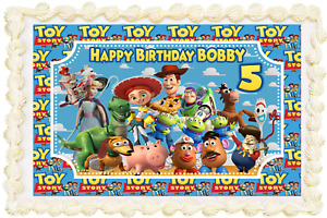 TOY STORY PERSONALISED RECTANGLE SQUARE ICING EDIBLE COSTCO CAKE TOPPER F-041G
