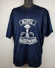 Seattle Sackpunches Baseball Henley Shirt Crew Softball Jersey XL Space Needle