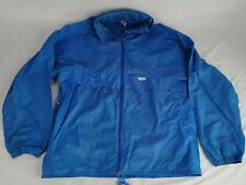 Vtg 80's K-Way Packable Rain Jacket Nylon Windbreaker Blue Full Zip Size L/XL