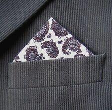 SUPERNOVA White & Grey Paisley Pocket Square Handkerchief Mod Scooter Wedding