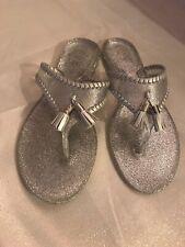 Jack Rogers Alana Sparkle Jelly Sandals Silver New Size 5