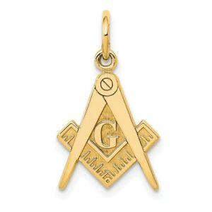 14k Yellow Gold Masonic Freemason Mason Pendant Charm Necklace Career