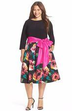 ELIZA J SASH TIE TEA LENGTH JERSEY & FALLIE FIT & FLARE DRESS sz 22W