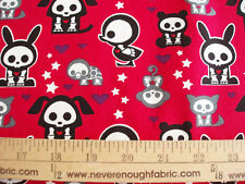 COTTON Fabric SKELANIMALS on Raspberry Red BTY