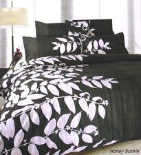 HONEY SUCKLE Black Silver DOUBLE Size Quilt Doona Cover Set