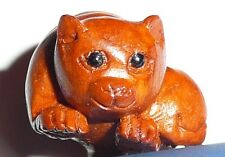 Adorable Momma Cat & Baby Kitty Hand Carved Boxwood Shank Button