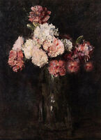 Art Oil painting Latour - Carnations in a Champagne Glass still life flowers