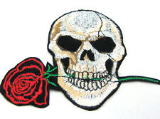 Fashion 1pcs Embroidered Cloth Patch Sew Motif Applique Skull and Rose