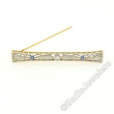 ANTIGUO 14k oro platino .32ctw Diamante Zafiro Miligrano Grabado Pasador Broche
