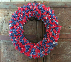 Vintage Country Primitive Red White & Blue Straw Fabric Poke Wreath Americana