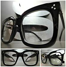 OVERSIZE VINTAGE RETRO NERD Style Clear Lens EYE GLASSES Thick Large Black Frame