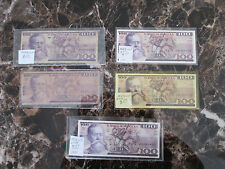 Lot of 5 100 Peso Currency Bills Mexico #  732