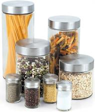 Kitchen Canister Set 8 Piece Spice Jars Storage Containers Pasta Sugar Flour Tea