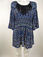 Catherines Women's Sz 0X 14/16 Blue Ikat Prints Crinkle Pleats Tunic Top Fringe