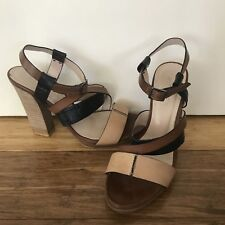 WITCHERY Women's Beige Black Brown Tan Strappy Heels Buckle Sz 9 (uk 7 Eur 40)