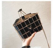 Shopping Black Basket Bag PU Leather Metal Cute Shoulder Korean Style