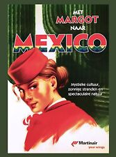 Met Margo Naar Mexico by Airplane Vintage Mexican Travel Advertisement Poster