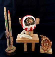 Japanese Creative SOUSAKU Wooden DARUMA / PENCIL/LITTLE KOKESHI DOLL 3 Pieces
