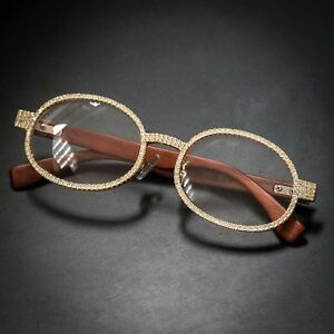 Round Vintage 14K Gold Clear Lens Wood Frame Hip Hop Ice Out Glasses For Men