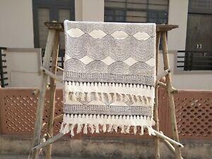 Handmade Floral Mud Cloth Throw Indian Bedroom Towel Picnic Blanket With Tassels