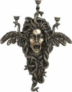 Medusa: Greek Mythology Gorgon Cold Cast Bronze wall mounted candle holder 61.5'